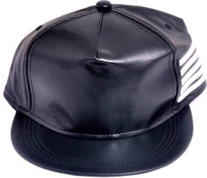 FAS Black Faux Leather, Snapback, baseball, Hip Hop, Trucker, Hat, Cap