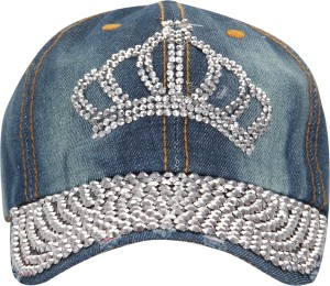 FabSeasons Washed Denim Jeans Cap With Studs/Stones Cap