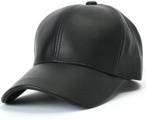 ALAMOS Solid Black Leather Solid Baseball Cap