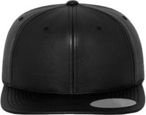 FAS Solid Black Faux Leather Snapback baseball Hip Hop Trucker Hat ... d3095a1f3d9