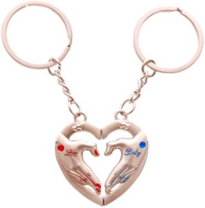 e8197d7277 CTW Love You Baby Heart In Hand Couple Keyring Metal Key Chain Red ...