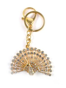 Target Retail PEACOCK WITH WHITE CRYSTAL DIAMOND KEYRING Key ChainMulticolor