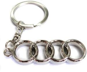 Accessory Bazar Audi Logo Metal Car Keychain Key Chain Silver Best