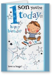 Lolprint Son Happy 1st Birthday Greeting Card