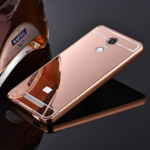 TRUE Back Cover for Metal Bumper Plus Acrylic Mirror Back Cover for Redmi Note 3 Rose Gold