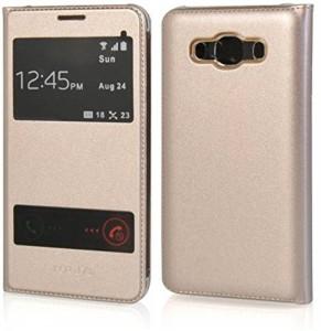 quality design 4d738 68f2b ELICA Flip Cover for Samsung Galaxy J7 SM-J700FGold