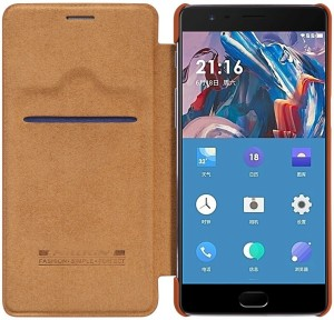 CrystaTech Flip Cover for Oneplus 3 Nillkin Qin Leather Flip