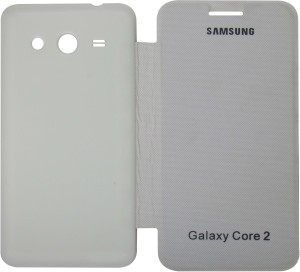 quality design fc1bc 120be VRV Flip Cover for Samsung Galaxy Core 2 G355White, Artificial Leather
