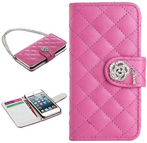 new concept e60b1 5b052 ULAK Flip Cover for Apple iPod touch 6Pink, Artificial Leather, Rubber