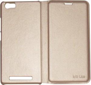 new concept 23974 bf4d4 vrv Flip Cover for Gionee M5 LiteGold