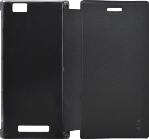 Coverage Flip Cover for Lava A76 Black, Artificial Leather, Plastic available at Flipkart for Rs.253