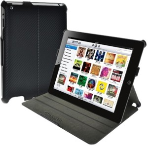 Amzer 90811 Shell Portfolio Case - Black Carbon Fibre Texture for Apple iPad 2