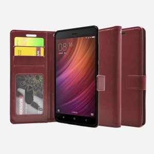best service bd46c 17b4b Foso Wallet Case Cover for Xiaomi Redmi Note 4Brown