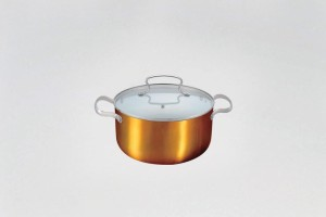 Alda Ceramic Coating Copper Finish Casserole Tall with Lid Casserole