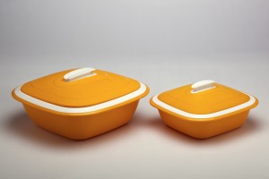 Cutting Edge Solitaire 2pc set big n small, Orange Pack of 2 Casserole Set