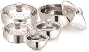 Nano Nine Meal Serve Insulated, Roti Saver Small & Mini(1150+800 ml) Gravy Pot Smal, Mini & Nano (1150 ml+850 ml+500 ml)- Gift Set No.4 Pack of 5 Casserole Set