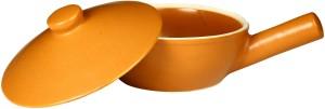 Caffeine Serving Sizzler Pan Ceramic in Brown Terracotta Round Lid (1 Pc) Casserole