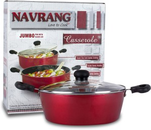 Navrang Cookware 2.5 Liter Jumbo Pan with Glass Lid Casserole