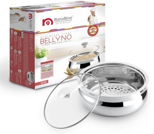 Nano Nine Bellyno Stainless Steel Serving Pot / Casserole With Glass Lid, Mini, 800 ml, Sliver Casserole