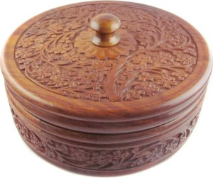 india wooden handicraft craving chapati box Casserole