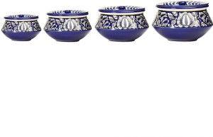 Caffeine Serving Haandi Ceramic in Blue Mughal Combo (1 Large, 1 Medium, 1 Small, 1 extra small) (Set of 4) Casserole Set