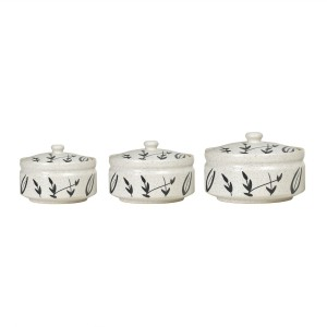 Caffeine Serving Donga Ceramic in White and Black Bamboo Leaf Combo (1 Large, 1 Medium & 1 Small) (Set of 3) Casserole Set