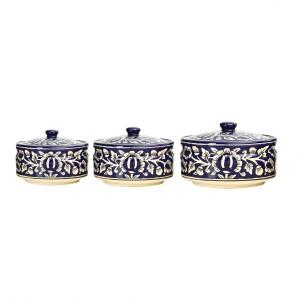 Caffeine Serving Donga Ceramic in Blue Mughal Combo (1 Large, 1 Medium & 1 Small) (Set of 3) Casserole Set