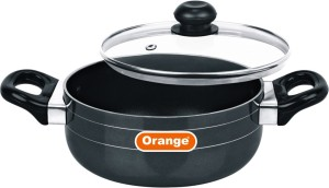 Orange casserole with glass lid 2.6 mm thickness 165mm Casserole