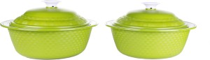 Cuttingedge Carnation Casserole 2 pc set 1800ml(Green,Pack of 2) Pack of 2 Casserole Set