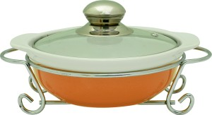 Rosa Italiano GUSTO CERAMIC HANDI (Serving Bowl) With Glass Lid & Chrome Finished Metal Stand Casserole