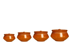 Caffeine Serving Haandi Ceramic in Mud Brown Terracotta Combo (1 Large, 1 Medium, 1 Small, 1 extra small) (Set of 4) Casserole Set