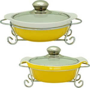 Rosa Italiano GUSTO CERAMIC HANDI (Serving Bowl) pack of 2 With Glass Lid & Chrome Finished Metal Stand Pack of 2 Casserole Set
