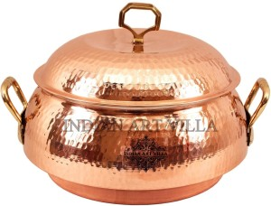 IndianArtVilla Steel Copper Casserole