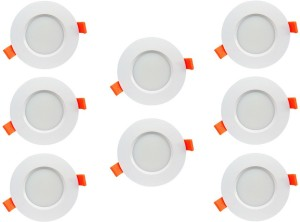Bene 6w Round Ceiling Light , Color of LED Warm White (Yellow) (Pack of 8 Pcs) Recessed Ceiling Lamp