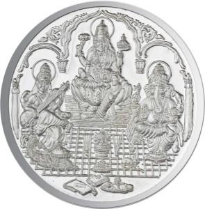 JPearls Saraswathi Ganesh and Lakshmi Silver Coin S 999 15 g Silver Coin