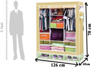 428f546cd Evana Carbon Steel Collapsible Wardrobe Finish Color Cream Best ...