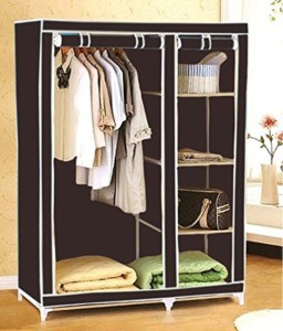 6da5a30e058 Evana Carbon Steel Collapsible Wardrobe Finish Color Brown Best ...
