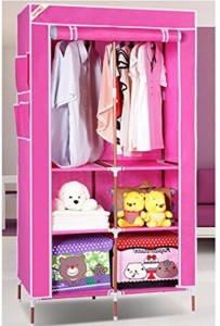 a1ec907f5 Evana Carbon Steel Collapsible Wardrobe Finish Color Pink Best Price ...