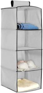 HOKIPO Hanging 4-Shelf Closet Cloth Organizer Cotton Collapsible Wardrobe