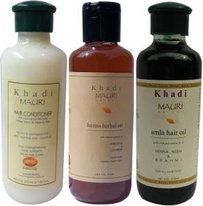 Khadi Mauri Herbal Hair Conditioner Amla Hair Oil Henna Shampoo Pack