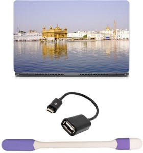 Skin Yard Golden Temple Full View Laptop Skin -14.1 Inch with USB LED Light & OTG Cable (Assorted) Combo Set