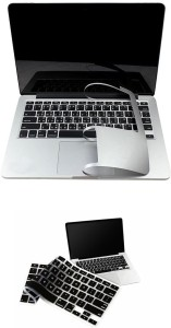 Pindia Apple Macbook Retina 13 13.3 Inch Me864hn/A Me864ll/A Full Palm Guard Black Keyboard Cover Combo Set