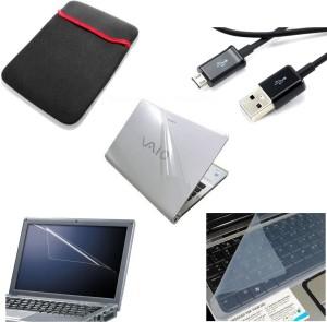 Namo Art Laptop Combo Sleeve, Transparent Skin, Mobile Usb Cable, Screen Guard, Key Guard Combo Set