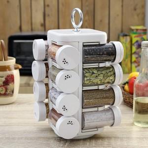JVS Kitchen Mate 16 Jar Solid White 16 Piece Condiment Set