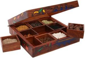Indikala Multipurpose 8 Inch Square Box (with Nine Detachable Compartments) 1 Piece Condiment Set