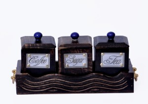 woodenclave Antiquity- Tea, Coffee and Sugar Jar Set with Tray 3 Piece Condiment Set