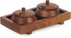 ExclusiveLane Jar Set With Tray And Spoon In Sheesham Wood 7 Piece Condiment Set