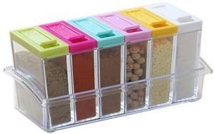 Kartsasta 6 Pcs Transparent Plastic Seasoning Box Spices Storage Box  - 500 ml Glass Spice Container