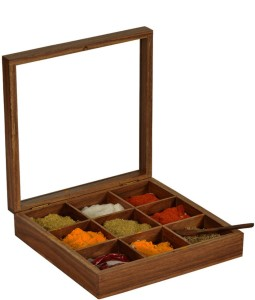 ExclusiveLane Spice Box In Sheesham Wood With Spoon 2 Piece Spice Set