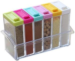 Evana Crystal Seasoning Box Pepper Salt Spice Rack, 6 Pieces 6 Piece Condiment Set
